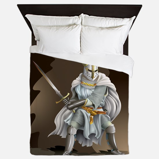 Crusader Knight Queen Duvet Cover