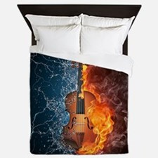 Fire and Water Violin Queen Duvet Cover