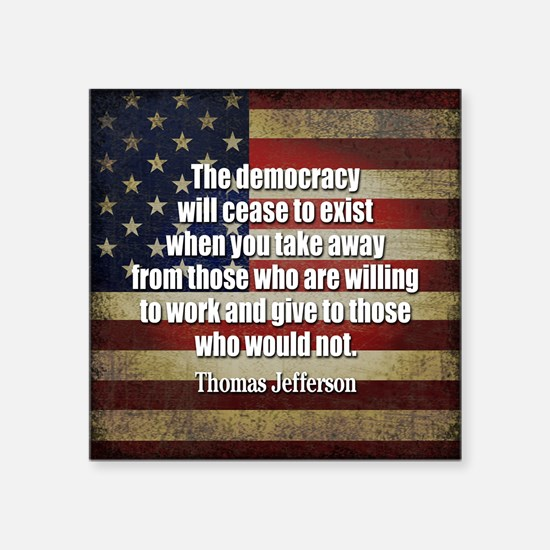 Jefferson Quote Democracy Sticker