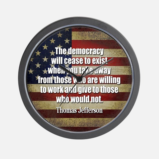 Jefferson Quote Democracy Wall Clock
