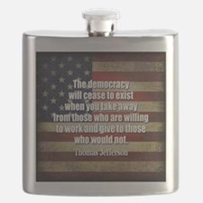 Jefferson Quote Democracy Flask