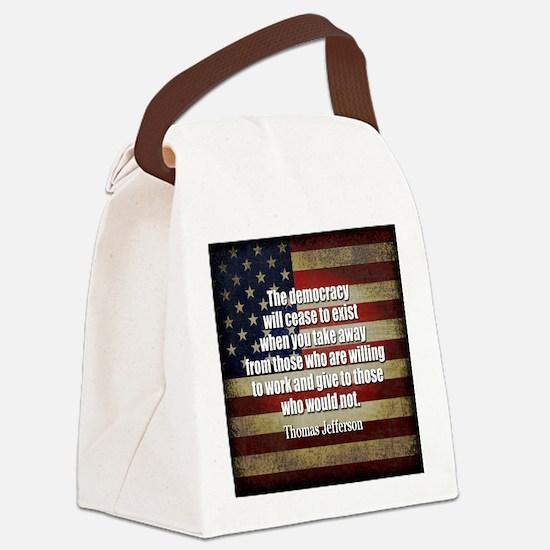 Jefferson Quote Democracy Canvas Lunch Bag