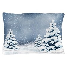 Cute Snowy Pine Trees Pillow Case