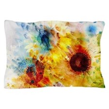 Watercolor Sunflowers Pillow Case