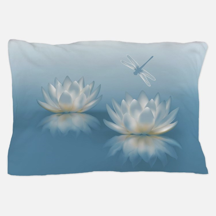 Blue Lotus And Dragonfly Pillow Case