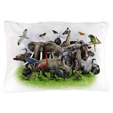 Animal Collage Pillow Case