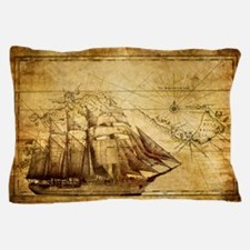 Old Ship Map Pillow Case