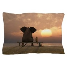 Elephant and Dog Friends Pillow Case