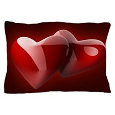 Glossy Red Hearts Pillow Case
