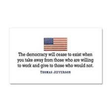 Quote Democracy Car Magnet 20 x 12
