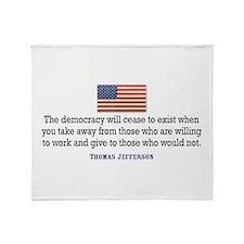 Quote Democracy Throw Blanket