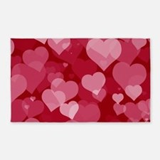 Red Valentine Hearts Area Rug