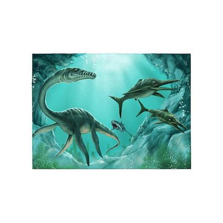 Underwater Dinosaur 5 X7 Area Rug By Fantasyartdesigns