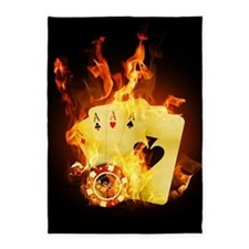 Burning Poker Cards 5'x7'area Rug