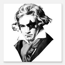 "Rock star Beethoven Square Car Magnet 3"" x 3"""
