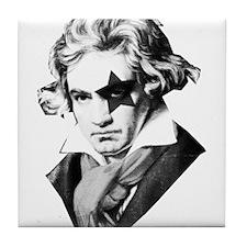 Rock star Beethoven Tile Coaster