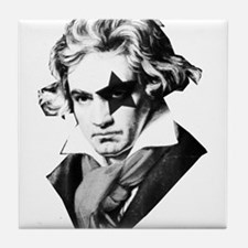 Rock star Beethoven Tile Coaster
