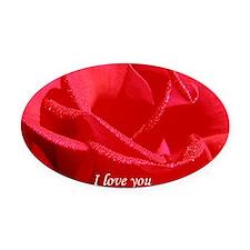 VALENTINE I love you side Oval Car Magnet