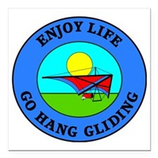 "hang gliding4 Square Car Magnet 3"" x 3"""
