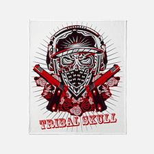 TRIBAL SKULL and GUN Throw Blanket