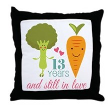 13 Year Anniversary Veggie Couple Throw Pillow