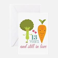 13 Year Anniversary Veggie Couple Greeting Card