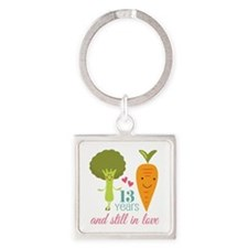 13 Year Anniversary Veggie Couple Square Keychain
