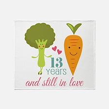 13 Year Anniversary Veggie Couple Throw Blanket