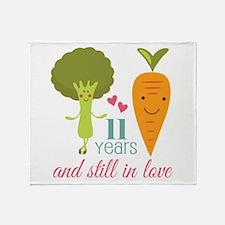 11 Year Anniversary Veggie Couple Throw Blanket