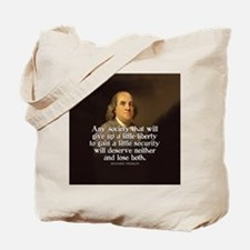 Ben Franklin Quote Tote Bag