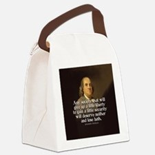 Ben Franklin Quote Canvas Lunch Bag