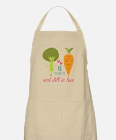 6 Year Anniversary Veggie Couple Apron