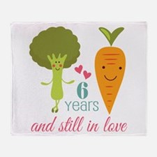 6 Year Anniversary Veggie Couple Throw Blanket