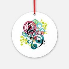 Music Swirl Round Ornament
