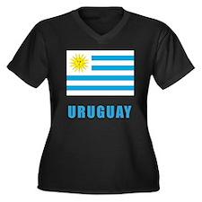 uruguay_flag Women's Plus Size Dark V-Neck T-Shirt