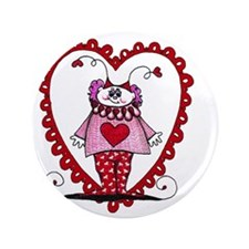 """Cupid in a heart 3.5"""" Button"""