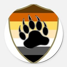 GAY BEAR PRIDE BEAR PAW SHIELD Round Car Magnet