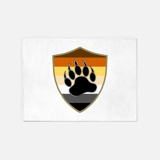 GAY BEAR PRIDE BEAR PAW SHIELD 5'x7'Area Rug
