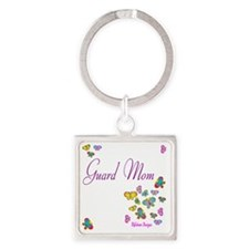 Guard Mom Butterflies Square Keychain