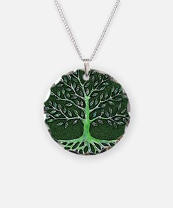 Verd Haitian Relief Tree Necklace Circle Charm