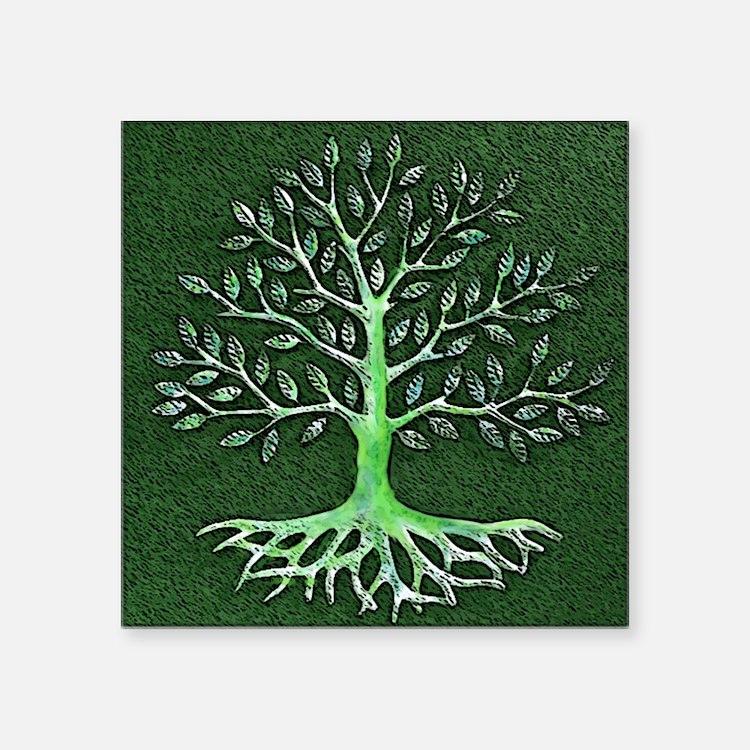 "Verd Haitian Relief Tree Square Sticker 3"" x 3"""
