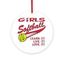 Girls softball Round Ornament