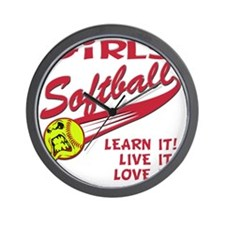 Girls softball Wall Clock