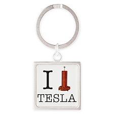 Tesla-1 Square Keychain