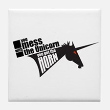 Mess with the Unicorn Tile Coaster