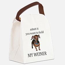 hold my weiner Canvas Lunch Bag