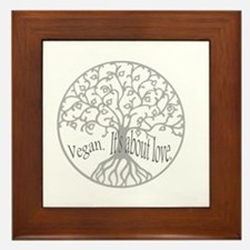 vegan love tee Framed Tile