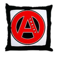 red atheist symbol Throw Pillow