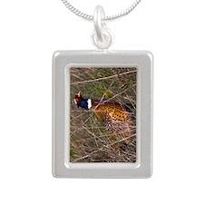 (9) Pheasant  407 Silver Portrait Necklace
