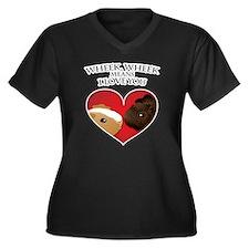 wheekwheek Women's Plus Size Dark V-Neck T-Shirt